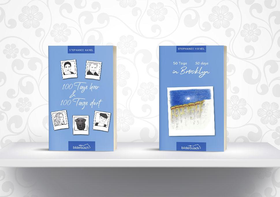 Cover der beiden Tagebuchromane von Stephanie Hanel    Gestaltung Cover und Layout Buchblock KERNgeschäft Christine Kern